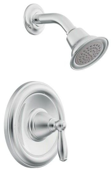 Shower Trim with Single Lever Handle - Brantford / Posi-Temp, Chrome Plated, Wall Mount, 1.75 GPM