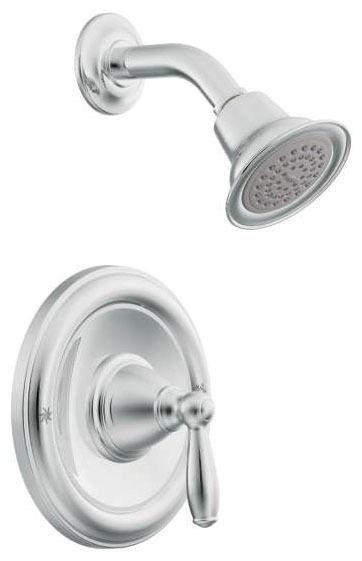Shower Trim with Single Lever Handle - Brantford / Posi-Temp, Chrome Plated, Wall Mount, 2.5 GPM