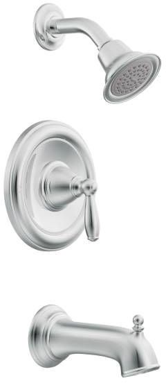 Brantford, Posi-Temp Wall Mount Tub and Shower Faucet, Chrome Plated