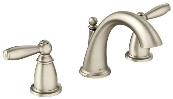Bathroom Sink Faucet with High-Arc Spout & Two Lever Handle - Brantford, Brushed Nickel, Deck Mount, 1.5 GPM