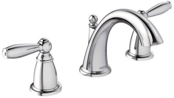 Bathroom Sink Faucet with High-Arc Spout & Two Lever Handle - Brantford, Chrome Plated, Deck Mount, 1.5 GPM