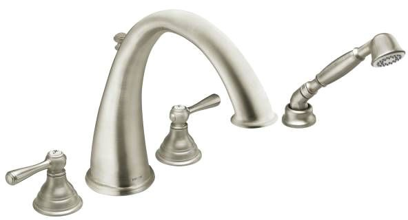 Tub Faucet with High-Arc Spout & Two Lever Handle - Kingsley, Brushed Nickel, Deck Mount, 2 GPM