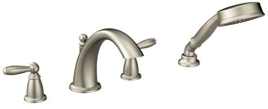Brantford Brushed Nickel Two-Handle Roman Tub Faucet Includes Hand Shower