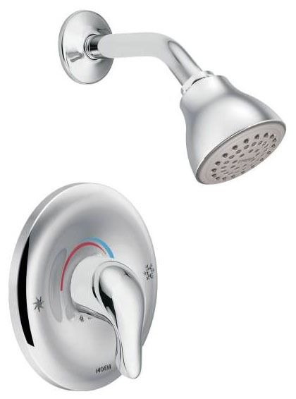 Shower Faucet with Single Lever Handle - Chateau / Posi-Temp, Chrome Plated, Wall Mount, 1.75 GPM