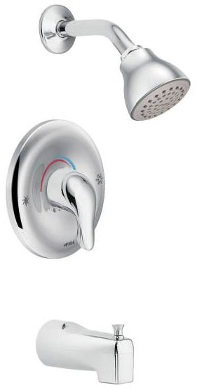 Chateau, Posi-Temp Wall Mount Tub and Shower Faucet, Brushed Chrome