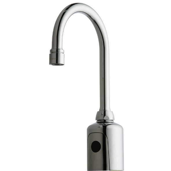 Electronic Faucet with Gooseneck Spout & Dual Beam Infrared Sensor - HyTronic, Chrome Plated, Cast Brass, Deck Mount, 0.5 GPM