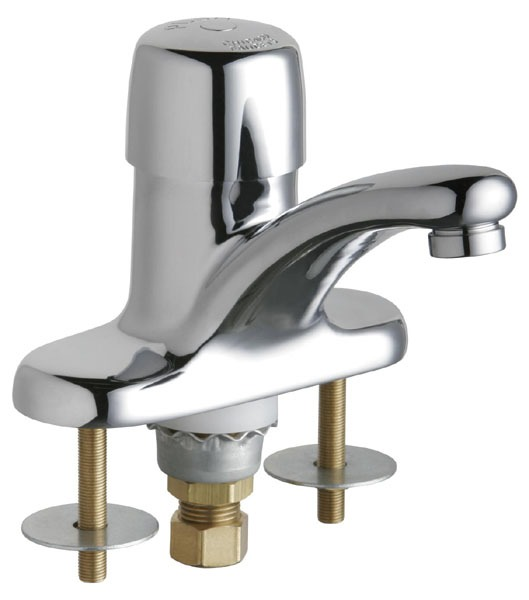 Metering Sink Faucet with Integral Spout & Single Push Handle - ECAST, Chrome Plated, Deck Mount, 0.5 GPM