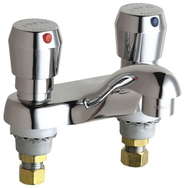 Hot and Cold Water Metering Sink Faucet with Integral Spout & Two Push Handle - ECAST, Chrome Plated, Deck Mount, 2.2 GPM