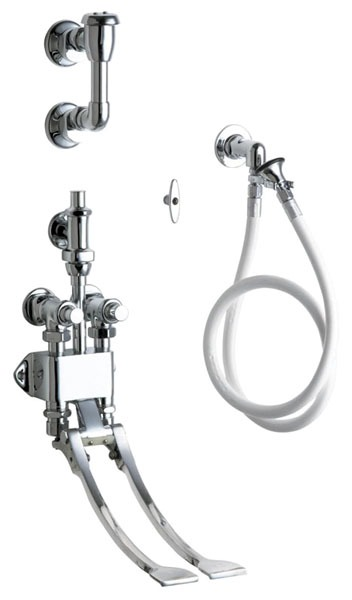 """Bedpan Cleaner with Loose Key - FPT, Chrome Plated, 125 psi, Wall Mount, 1/2"""", 4' Hose, Pedal Valve"""