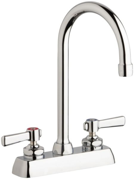 Hot and Cold Water Workboard Sink Faucet with Gooseneck Spout & Two Blade Handle - ECAST, Chrome Plated, Deck Mount, 1.5 GPM