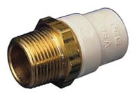 "1-1/2"" CPVC Male Straight Adapter - FlowGuard Gold, Brass MPT x CTS Hub"