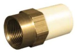 "2"" CPVC Female Straight Adapter - FlowGuard Gold, Brass FPT x CTS Hub"