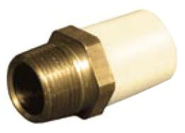 "3/4"" CPVC Male Straight Adapter - FlowGuard Gold, Brass MPT x CTS Hub"