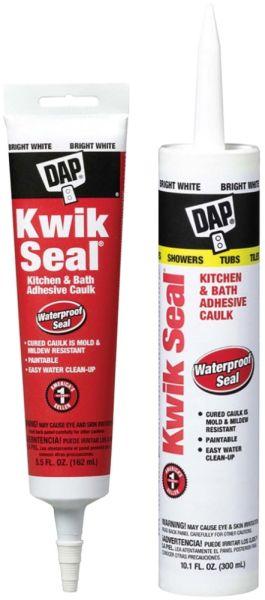 Latex Kitchen and Bath Adhesive Caulk - KWIK SEAL, White, 5.5 Fl Oz Tube