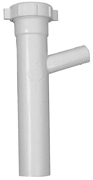 "1-1/2"" x 8"" White Polypropylene Branch Tailpiece - Tubular Slip Joint Top"