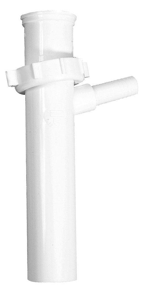"1-1/2"" x 8"" White Polypropylene Branch Tailpiece - Tubular Hi-Line"