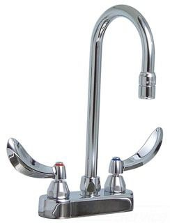 Bathroom Sink Faucet with Rigid / Swivel / Gooseneck Spout & Two Hooded Blade Handle - CER-TECK, Polished Chrome, Deck Mount, 1.5 GPM