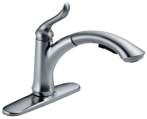 Kitchen Faucet with 120D Swivel Spout & Single Lever Handle - Linden, Arctic Stainless Steel, Deck Mount, 1.5 GPM
