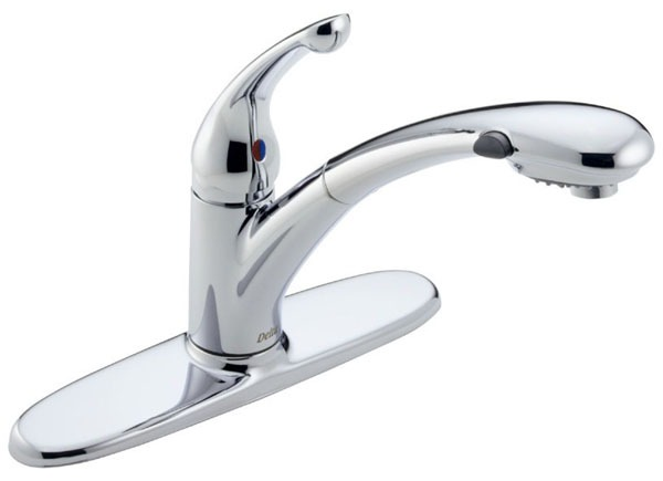Signature Pull-Out Kitchen Faucet with Single Lever Solid Handle - Chrome Plated, 1.8 GPM