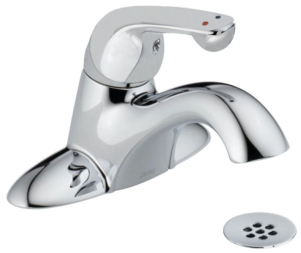 Bathroom Sink Faucet with Single Lever Handle - Chrome Plated, Deck Mount, 1.5 GPM