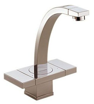 Brizo Loki Bathroom Sink Faucet with Two Slide On / Off Handle and Metal Pop-Up - Brilliance Brushed Nickel, 1.5 GPM