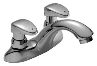 Teck Commercial Metering Sink Faucet with Two Lever Handle - Polished Chrome, 0.5 GPM