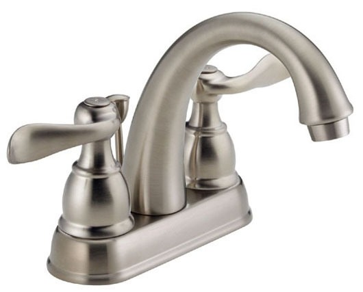 Bathroom Sink Faucet with Two Lever Handle - Windemere, Brilliance Stainless Steel, Deck Mount, 1.5 GPM