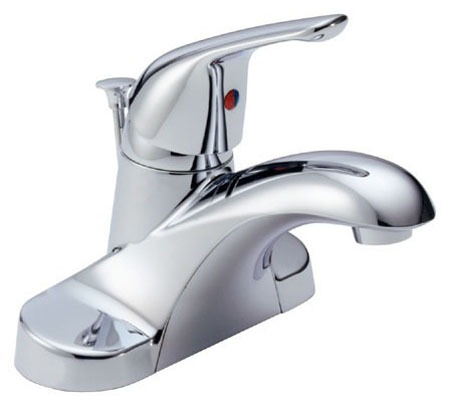 Foundations Deck Mount Bathroom Sink Faucet - Single Lever, Centerset, Metal Pop-Up, Chrome Plated, 1.2 GPM