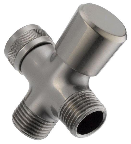 """3-Way Hand Shower Arm Diverter - Universal Showering, 3-7/32"""" x 2-11/32"""", Brass, Brilliance Stainless Steel"""