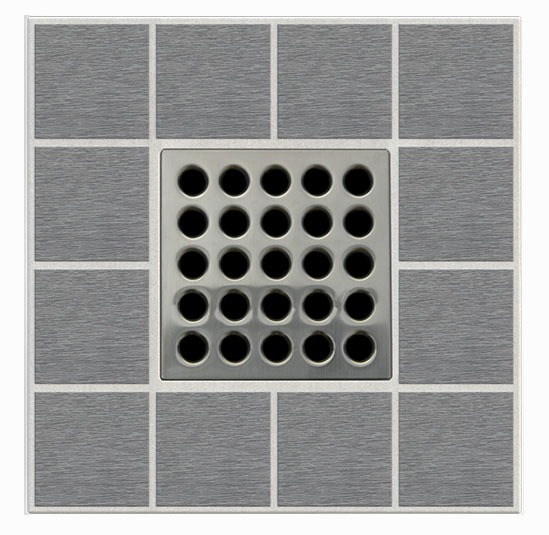 "3-3/4"" x 3-3/4"" Square Drain Grate - ebbe PRO, Brushed Nickel"
