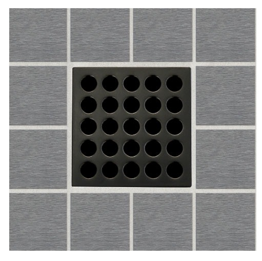 "3-3/4"" x 3-3/4"" Square Drain Grate - ebbe PRO, Oil Rubbed Bronze"