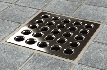 "3-3/4"" x 3-3/4"" Square Drain Grate - ebbe PRO, Polished Nickel"