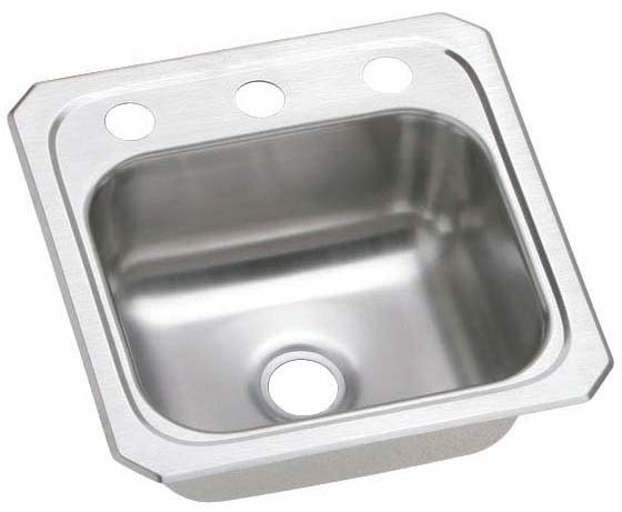 """20 Gauge Stainless Steel 15"""" X 15"""" X 6-1/8"""" Brushed Satin Single Bowl 2-Faucet Hole Top Mount Bar/Prep Sink W/2"""" Drain Size Hole"""