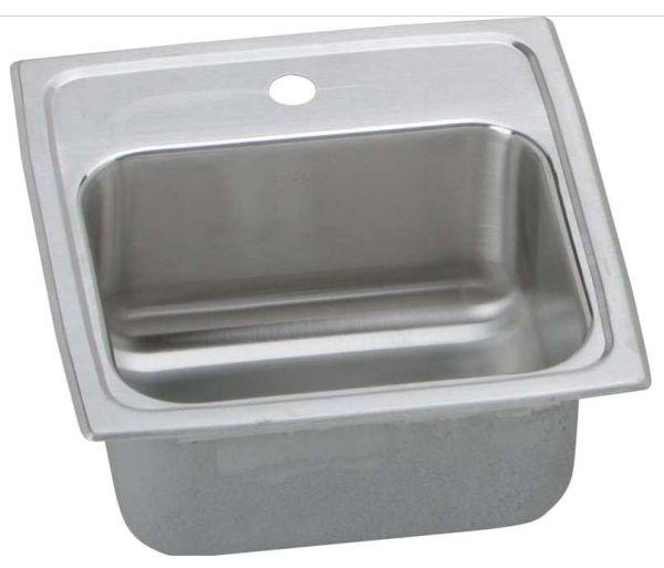 "18 Gauge Stainless Steel 15"" X 15"" X 7-1/8"" Lustertone Single Bowl 1-Faucet Hole Top Mount Bar/Prep Sink W/2"" Drain Size Hole"