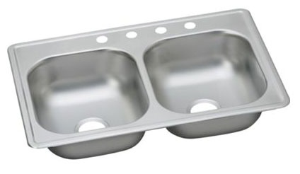"22 Gauge Stainless Steel 33"" X 22"" X 6-9/16"" Satin Double Bowl 4-Faucet Hole Top Mount Kitchen Sink"