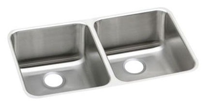 "18 Gauge Stainless Steel 30-3/4"" X 18-1/2"" X 10"" Lustertone Double Bowl Undermount Kitchen Sink"