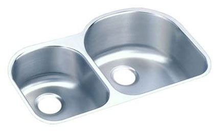 "18 Gauge Stainless Steel 31-1/4"" X 20"" X 10"" Lustertone Left Offset Double Bowl Undermount Kitchen Sink"