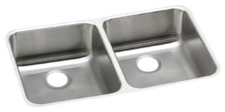 "18 Gauge Stainless Steel 30-3/4"" X 18-1/2"" X 5-3/8"" Lustertone Double Bowl Undermount Kitchen Sink"