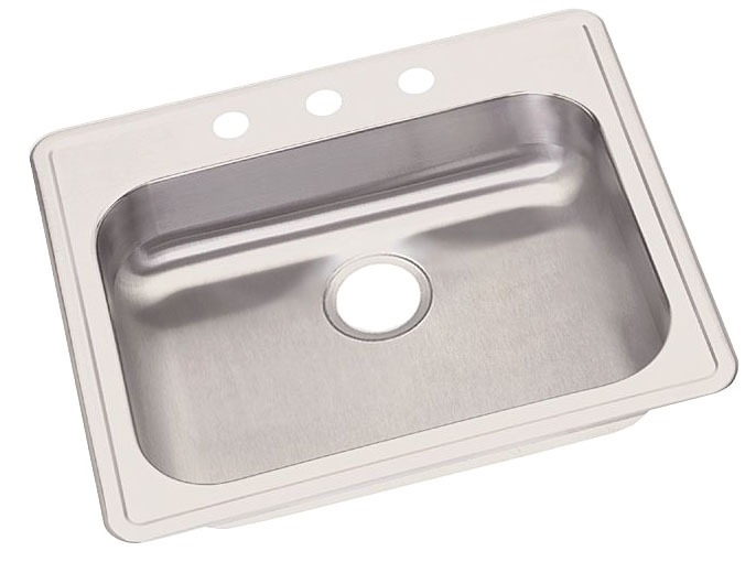 "Dayton Stainless Steel 25"" x 21-1/4"" x 5-3/8"", Single Bowl Top Mount Sink"
