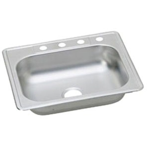 """23 Gauge Stainless Steel 25"""" X 22"""" X 6-1/16"""" Satin Single Bowl 4-Faucet Hole Top Mount Kitchen Sink"""