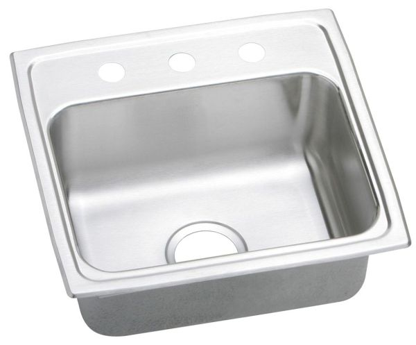 "18 Gauge Stainless Steel 19"" X 18"" X 7-5/8"" Lustertone Single Bowl 1-Faucet Hole Top Mount Kitchen Sink"