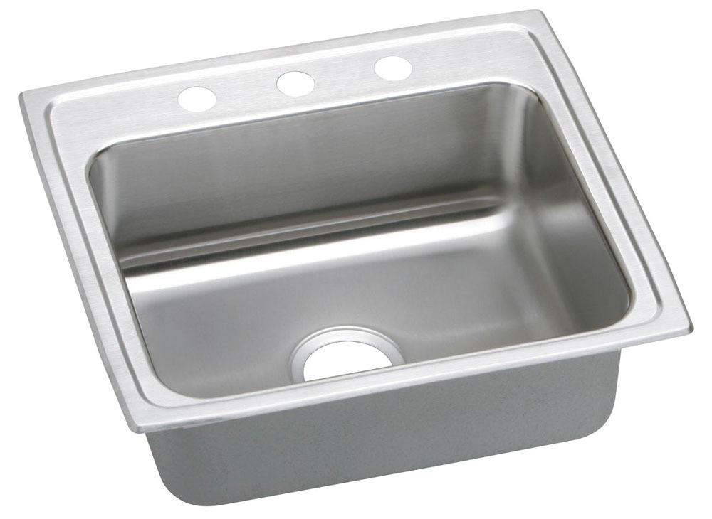 """18 Gauge Stainless Steel 22"""" X 19-1/2"""" X 7-5/8"""" Lustertone Single Bowl 1-Faucet Hole Top Mount Kitchen Sink"""