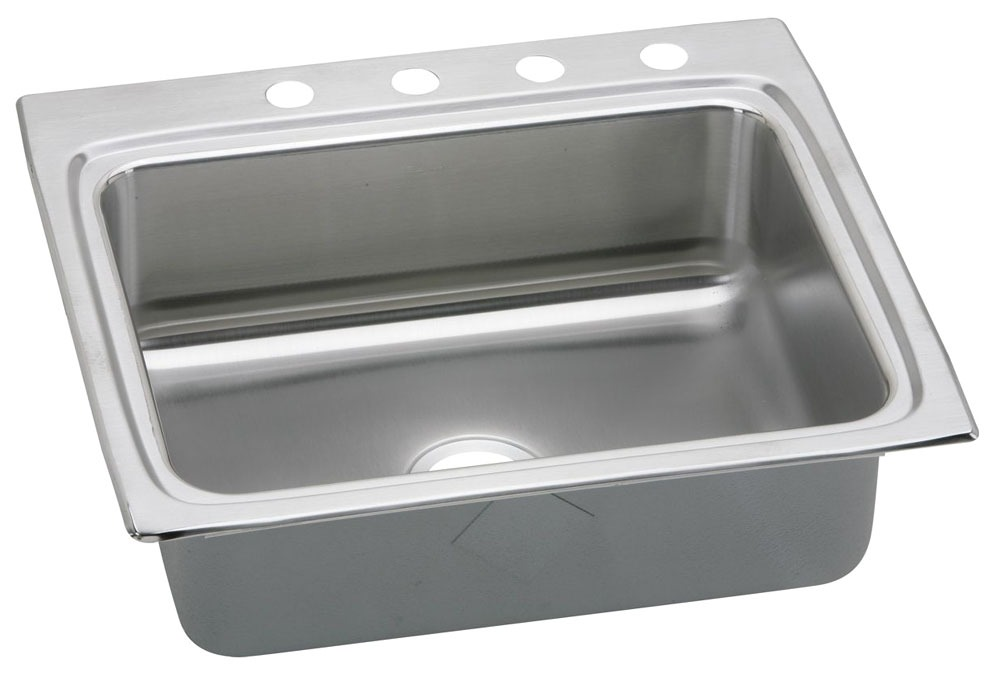 """18 Gauge Stainless Steel 25"""" X 22"""" X 8-1/8"""" Lustertone Single Bowl 2-Faucet Hole Top Mount Kitchen Sink"""