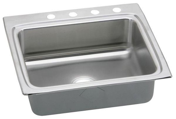 "18 Gauge Stainless Steel 25"" X 22"" X 8-1/8"" Lustertone Single Bowl 4-Faucet Hole Top Mount Kitchen Sink"