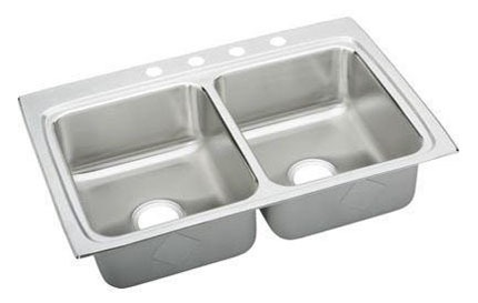 "18 Gauge Stainless Steel 33"" X 22"" X 8-1/8"" Lustertone Double Bowl 4-Faucet Hole Top Mount Kitchen Sink"