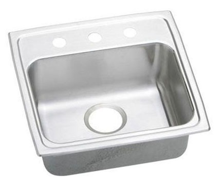 "19"" x 18"" x 5-1/2"" Top / Drop-In Mount Single Bowl Kitchen Sink - Lustertone, Lustrous Highlighted Satin, Stainless Steel"