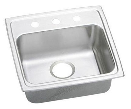 "19-1/2"" x 19"" x 5-1/2"" Top / Drop-In Mount Single Bowl Kitchen Sink - Lustertone, Lustrous Highlighted Satin, Stainless Steel"