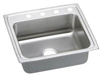 "18 Gauge Stainless Steel 22"" X 19-1/2"" X 6-1/2"" Lustertone Single Bowl 3-Faucet Hole Top Mount Kitchen Sink"
