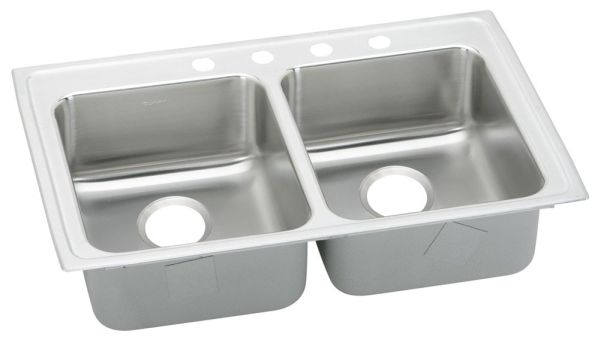 "33"" x 19-1/2"" x 5-1/2"" Top / Drop-In Mount Double-Equal Bowl Kitchen Sink - Lustertone, Lustrous Highlighted Satin, Stainless Steel"