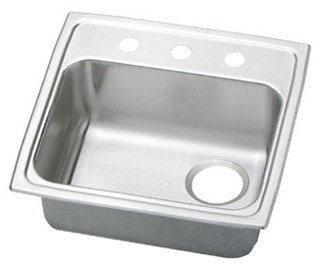 "19-1/2"" x 19"" x 5-1/2"" Top / Drop-In Mount Single Bowl Kitchen Sink - Gourmet / Pacemaker, Brilliant Satin, Stainless Steel"